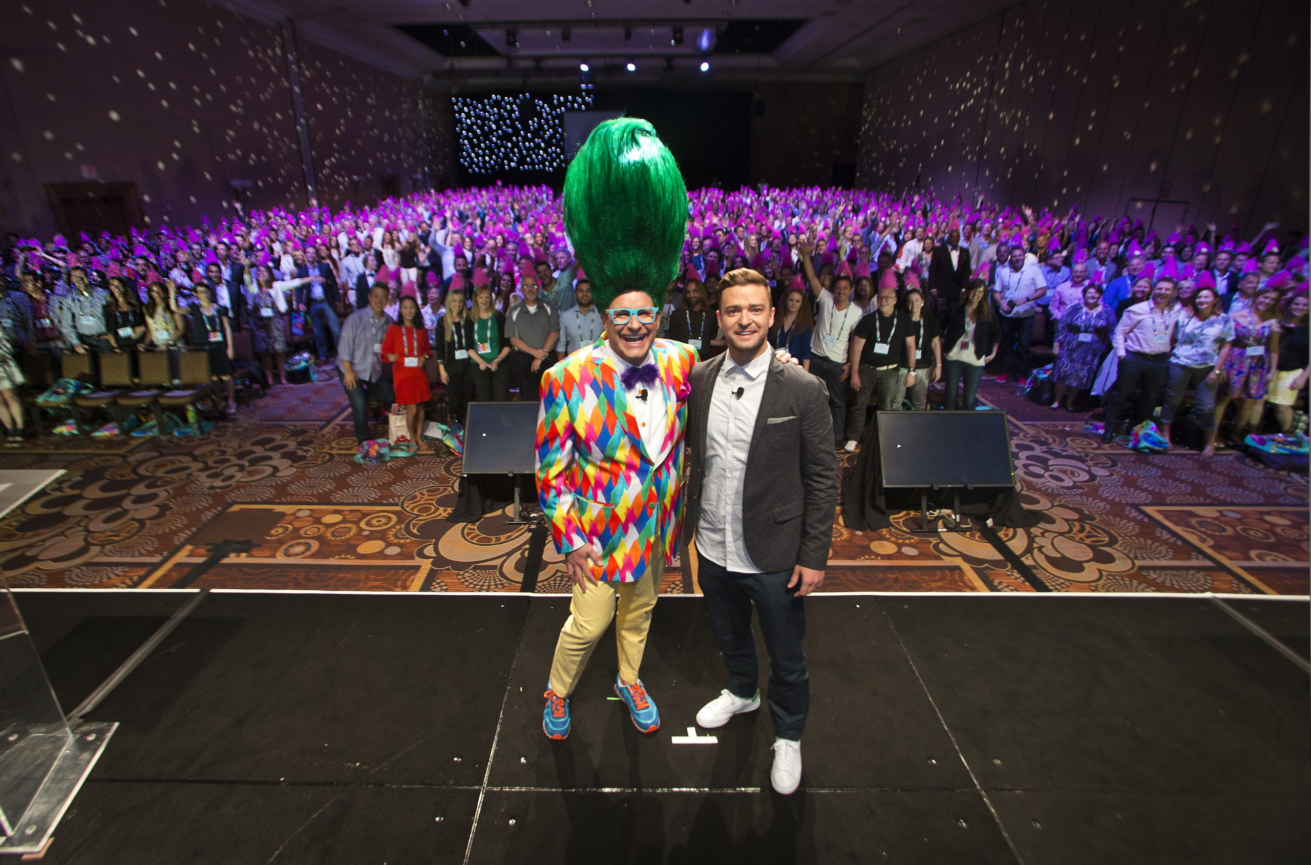 """Jim Fielding, the current head of global consumer products at DreamWorks, takes an entire room """"selfie"""" with performer Justin Timberlake during their annual DreamWorks Entertainment Celebration at the Mandalay Bay on Tuesday, June 21, 2016. . L.E. Baskow"""